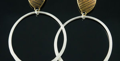 Brass Stone Post with Large Silver Hoop
