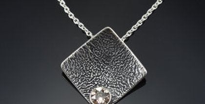 Silver Soul Square Shift Necklace with Swarovski Crystal