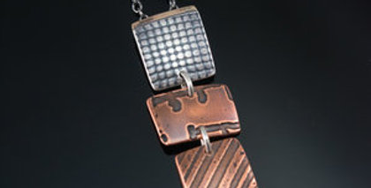 Tile Stack Necklace in Copper, Silver & Gold