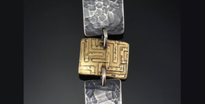 Harvest Maze Tile Stack Necklace in Brass, Silver & Gold