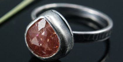 Silver Teardrop Stone Ring with Madagascar Sunstone