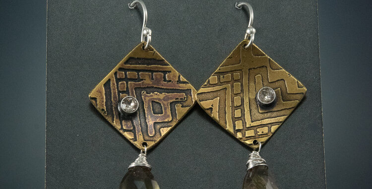 Etched Brass Square Shift with Andalusite Faceted Drops