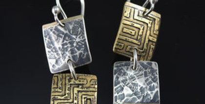 Harvest Maze Tile Earrings in Silver, Brass & Gold