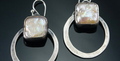 Small Silver and Square Pearl Orbit Hoop Earring