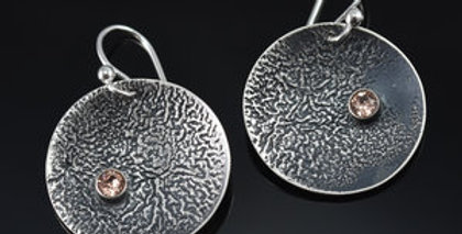 Silver Soul Round Disc Earrings with Swarovski Crystals