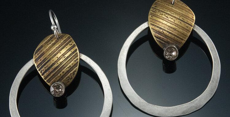 Brass Stone with Crystal on Medium Hoop
