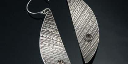 Silver Arc Earrings with Swarovski Crystals