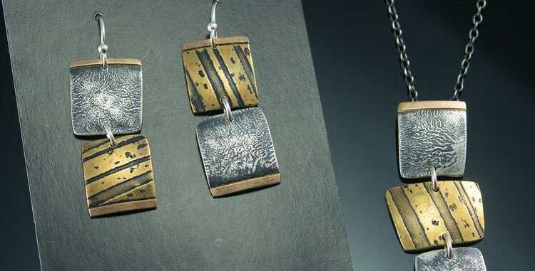 Tile Stack Necklace in Brass, Silver & Gold