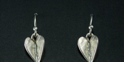Silver Winged Heart Dangle Earrings