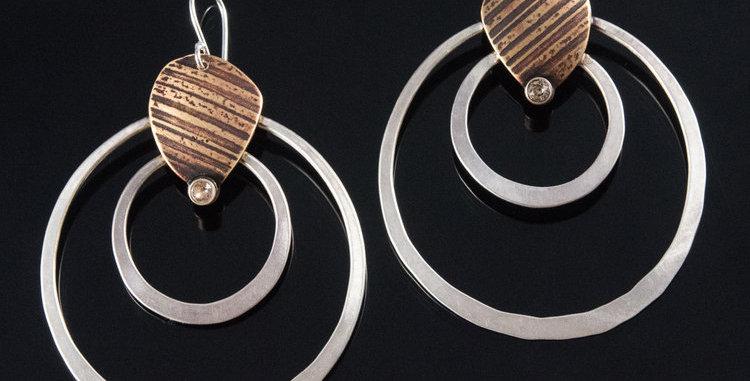 Double Orbit Stone Crystal Earring
