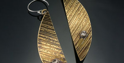 Brass Arc Earrings with Swarovski Crystals