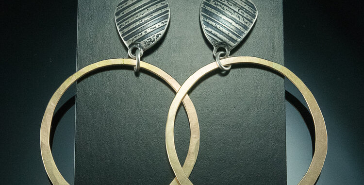 Silver Stone Post & Large Gold Hoops