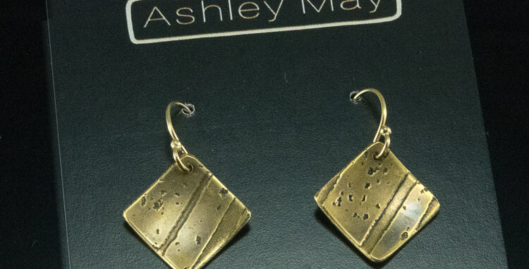 Small Brass Square Shift Earrings with Gold Ear Wires