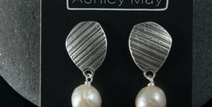 Silver Stone Post Earrings with Edison Pearls