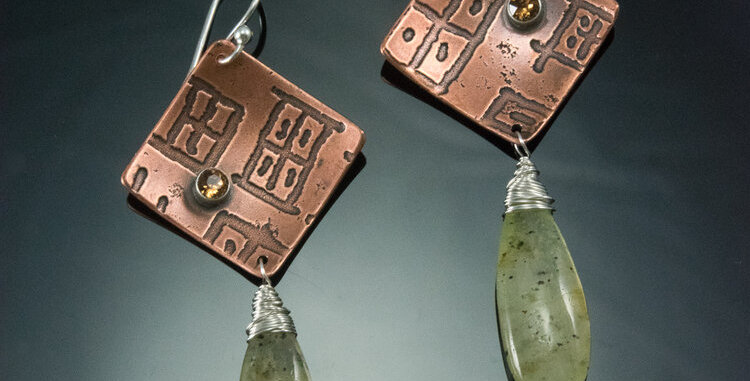 Copper Maze Earrings with Moss Agate Drops