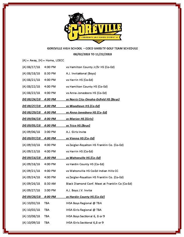 Goreville Coed Varsity Golf Team Schedul