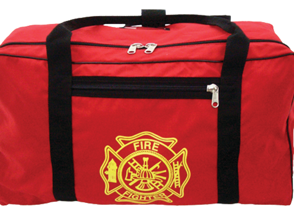 R&B Fabrications Red Turnout Gear Bag XL w/ Gold Maltese Cross