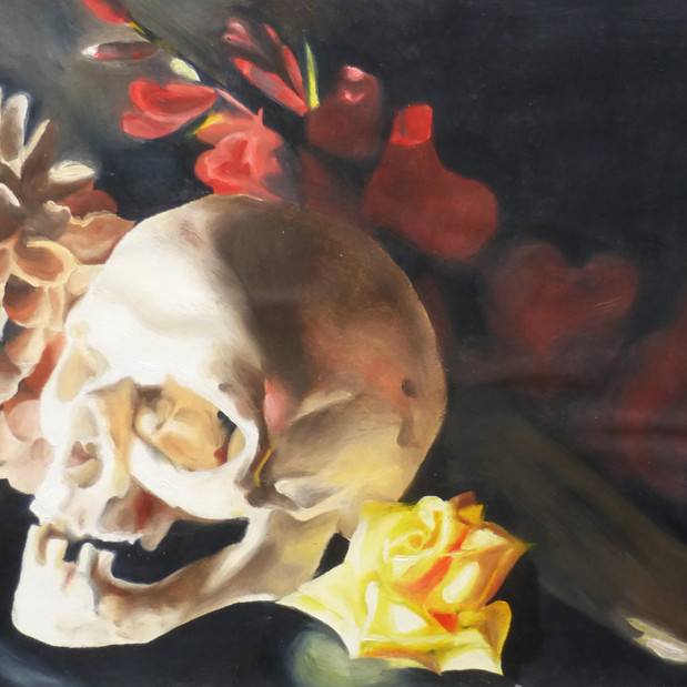 Still Life, oil painting on paper