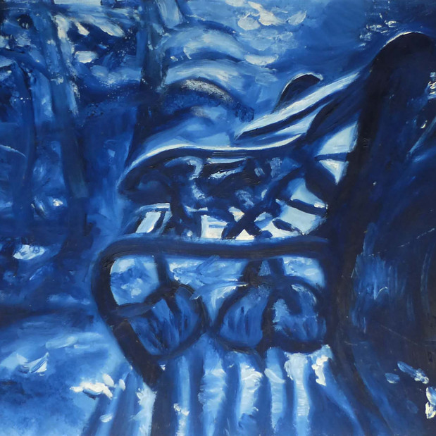 Blue Chair, oil painting on paper
