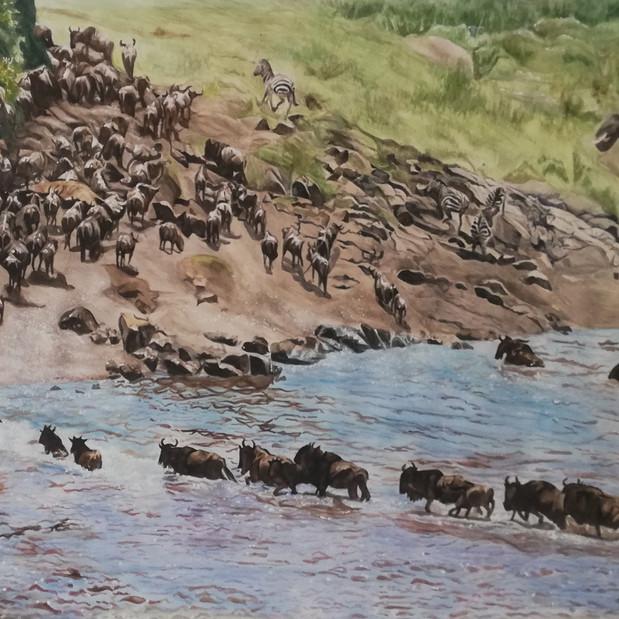 Safari scene commission, watercolour on A2 paper