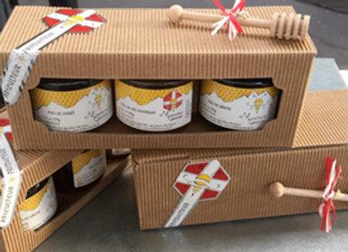 Coffret découverte miel 3x125g et cuillère