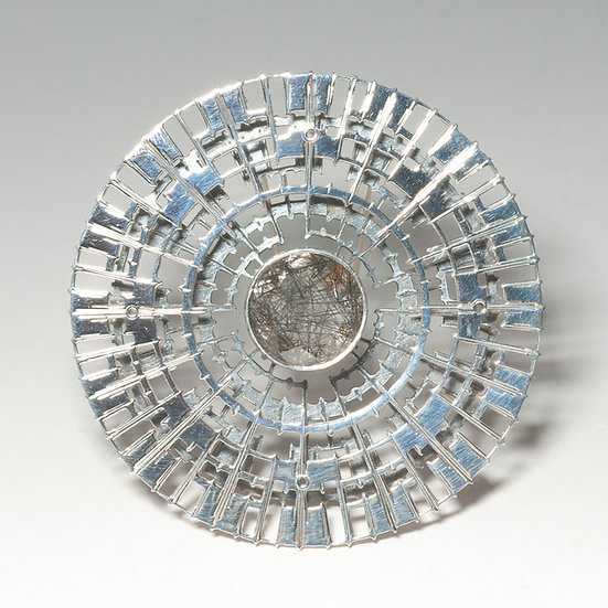 Tourmalated quartz brooch hand engraved saw pierced polished patina layered Tom Asquith jewellery