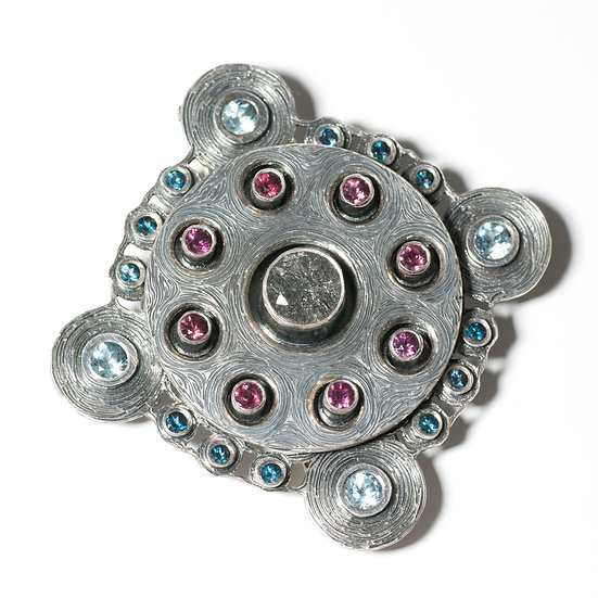 tourmalated quartz brooch silver layered hand engraved bespoke Tom Asquith Jewellery