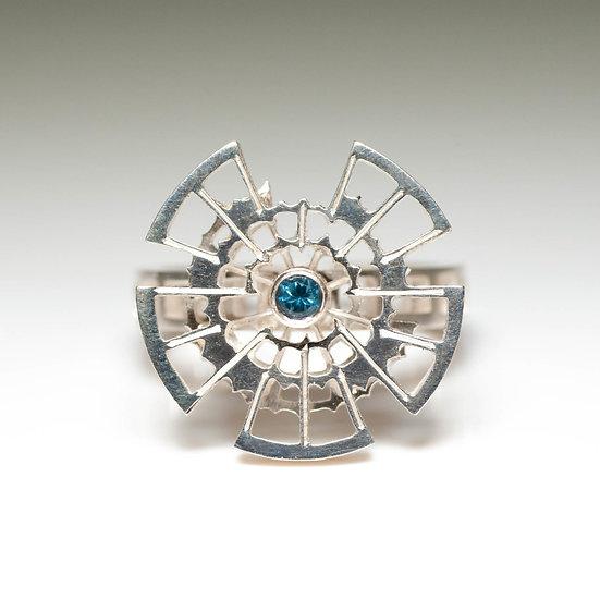 London Blue Topaz kinetic orbital ring, geometric Hand engraved saw pierced Tom Asquith Jewellery