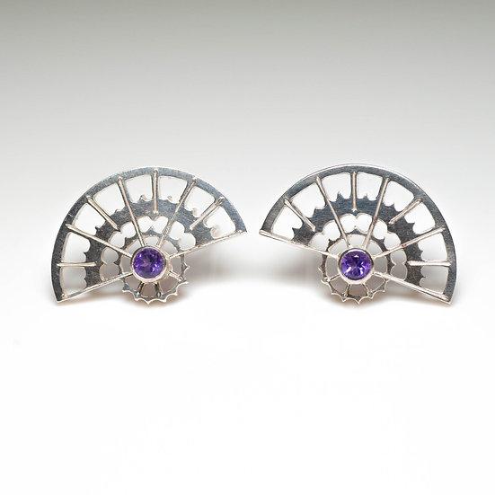 earstuds studs earrings peridot amethyst handmade saw pierced hand engraved patina oxidised tom asquith jewellery geometric