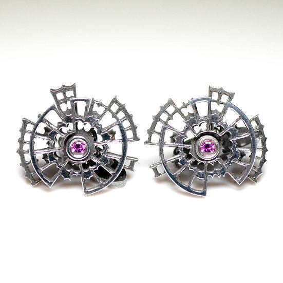 Cufflinks with Rhodolite Garnet Handmade saw pierced hand engraved decorative toggle layered Tom Asquith Jewellery