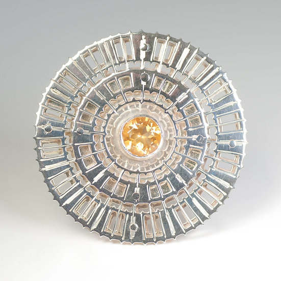 Citrine brooch saw pierced hand engraved geometric jewellery Tom Asquith Jewellery