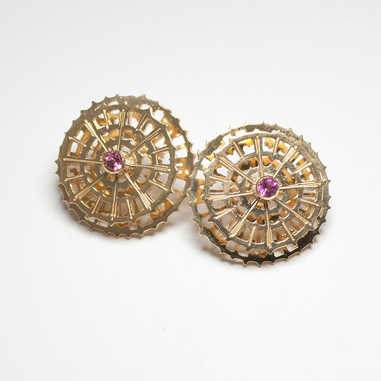 earstuds studs earrings pink tourmaline handmade saw pierced hand engraved gold plated silver tom asquith jewellery