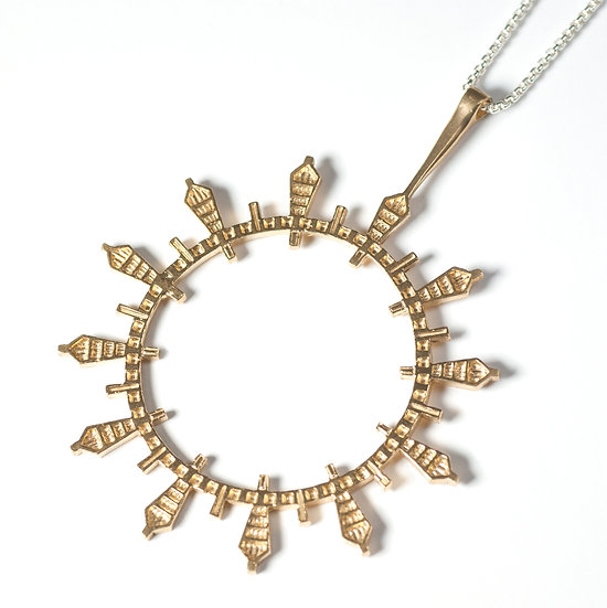 Gold plated silver Pendant geometric circular round necklace Tom Asquith jewellery
