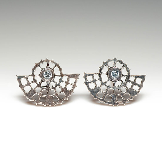 earstuds studs earrings topaz handmade saw pierced hand engraved patina oxidised tom asquith jewellery