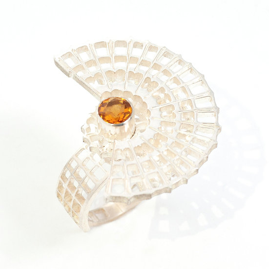 Citrine kinetic orbital ring, geometric Hand engraved saw pierced Tom Asquith Jewellery