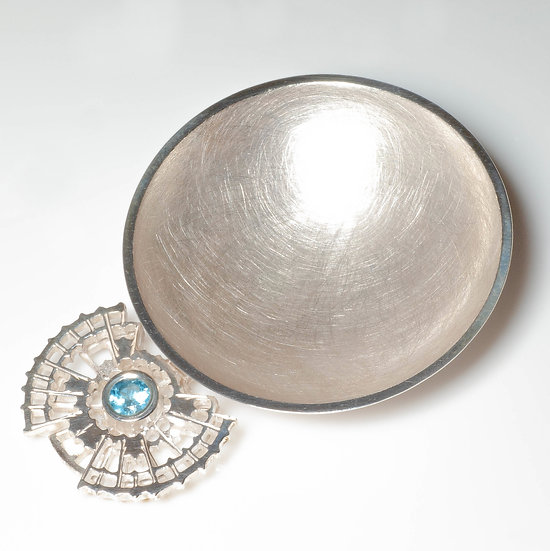 Silver Caddy Spoon with Topaz