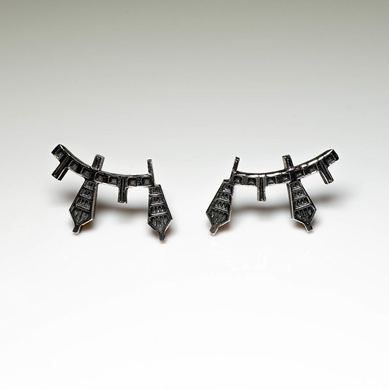 earstuds studs earrings handmade saw pierced hand engraved patina oxidised tom asquith jewellery geometric