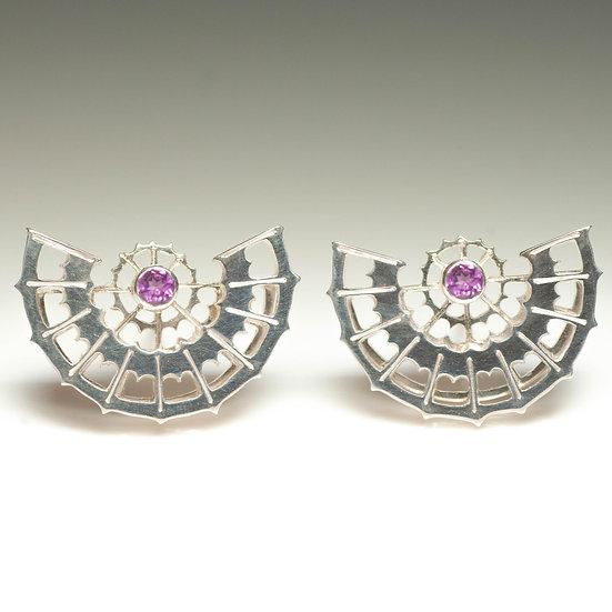 earstuds studs earrings pink tourmaline handmade saw pierced hand engraved patina oxidised tom asquith jewellery geometric