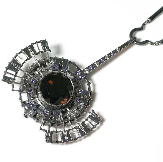 Smokey Quartz Necklace/Brooch decorative clasp handmade Tom Asquith jewellery