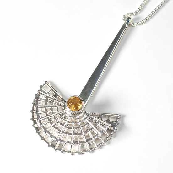 citrine peridot labradorite garnet Pendant geometric half round necklace hand engraved saw pierced Tom Asquith jewellery