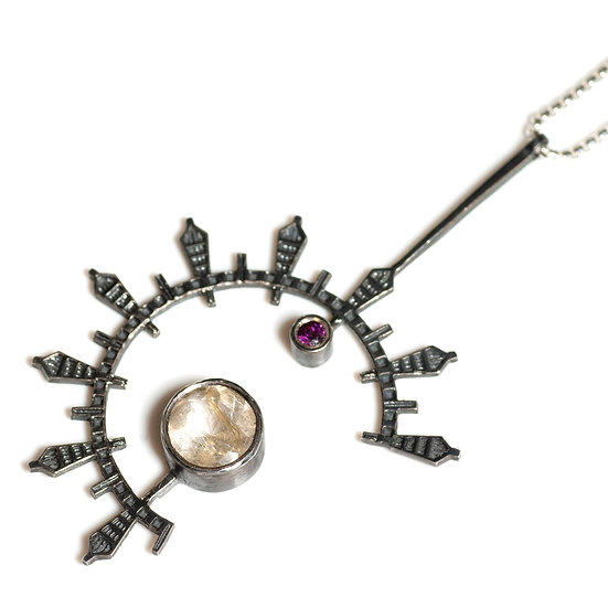 patina oxidised rutilated quartz rhodolite garnet silver Pendant geometric circular round necklace Tom Asquith jewellery