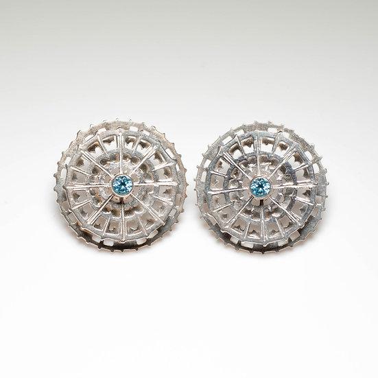 earstuds studs earring topaz coral citrine handmade saw pierced hand engraved patina oxidised tom asquith jewellery geometric