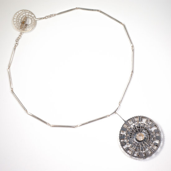 Rutilated Quartz Necklace, Handmade chain, silver, patina, oxidised, decorative clasp hand engraved saw pierced tom asquith
