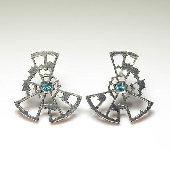 earstuds studs earrings topaz handmade saw pierced hand engraved patina oxidised tom asquith jewellery