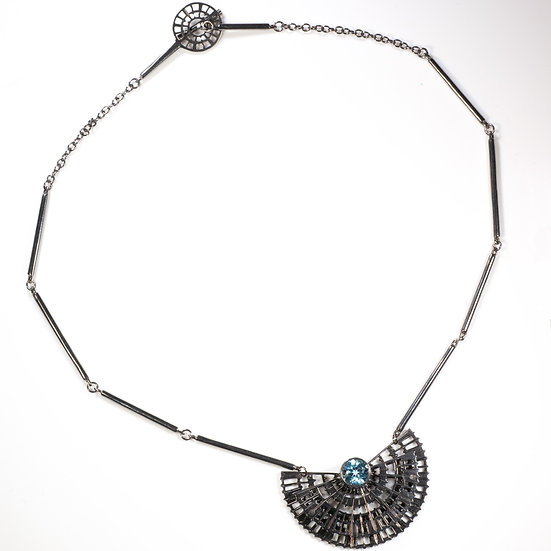 Blue topaz, black rhodium plated silver, decorative clasp, handmade chain