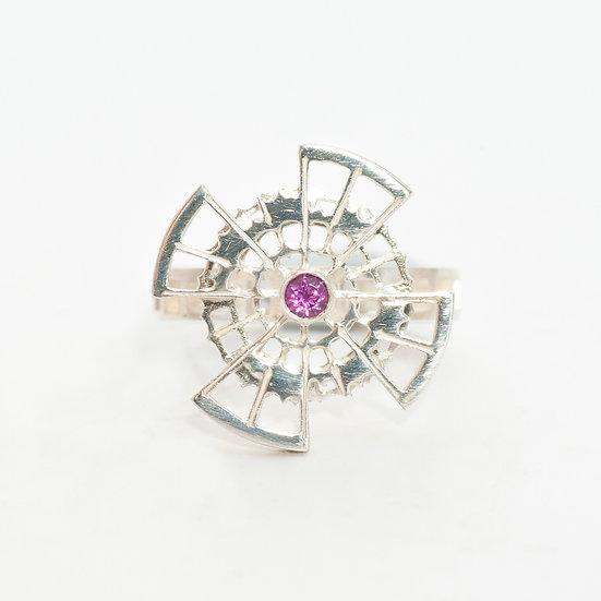 Rhodolite Garnet kinetic orbital ring, geometric Hand engraved saw pierced Tom Asquith Jewellery