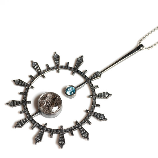 patina oxidised tourmalated quartz topaz silver Pendant geometric circular round necklace Tom Asquith jewellery