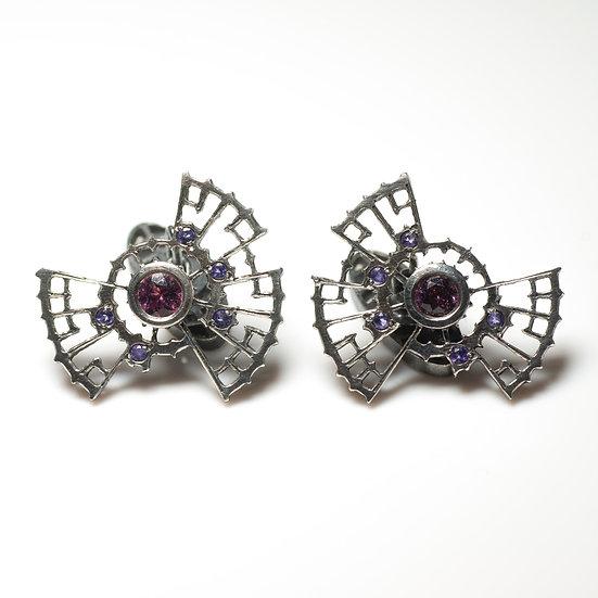 Garnet and Amethyst mens Cufflinks decorative toggle patina oxidised tom asquith jewellery