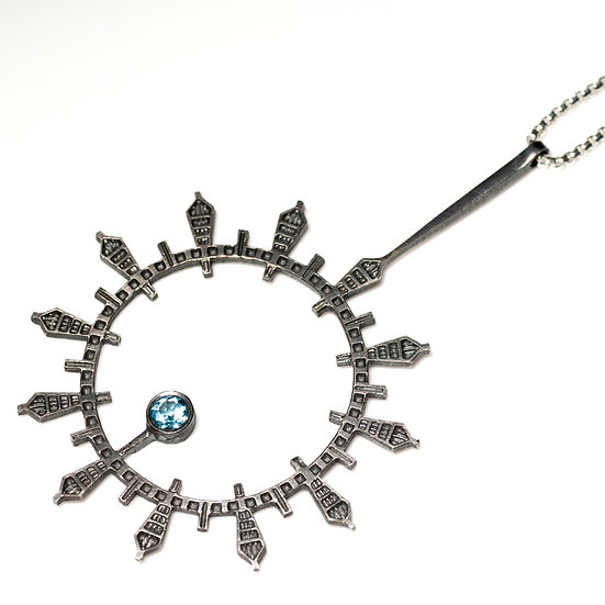 patina oxidised topaz silver Pendant geometric circular round necklace Tom Asquith jewellery