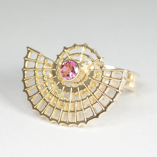 Orbital Ring with Pink Tourmaline kinetic jewellery gold hand engraved saw pierced Tom Asquith jewellery